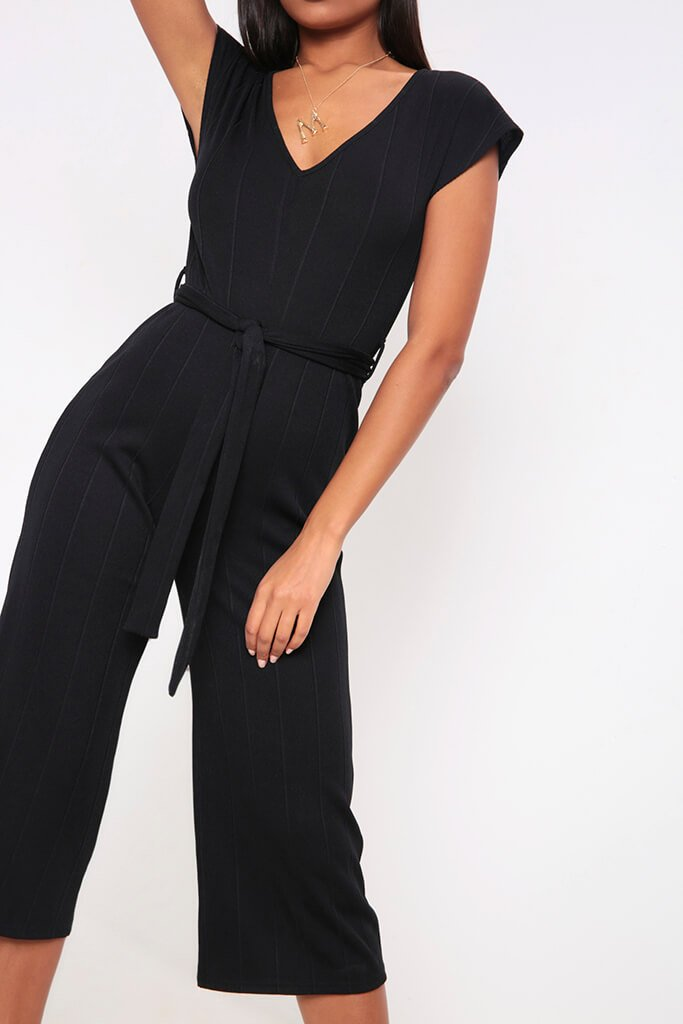 Black Wide Leg Ribbed Jumpsuit view 4