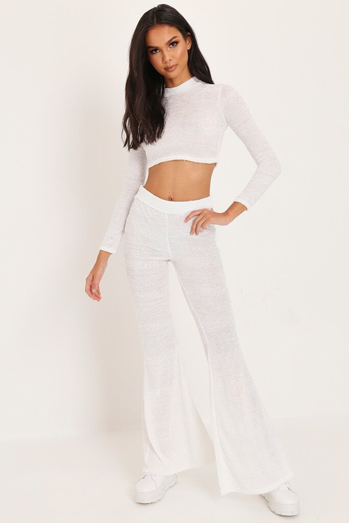 White Brushed Crop Top & Trousers Loungewear Set view main view