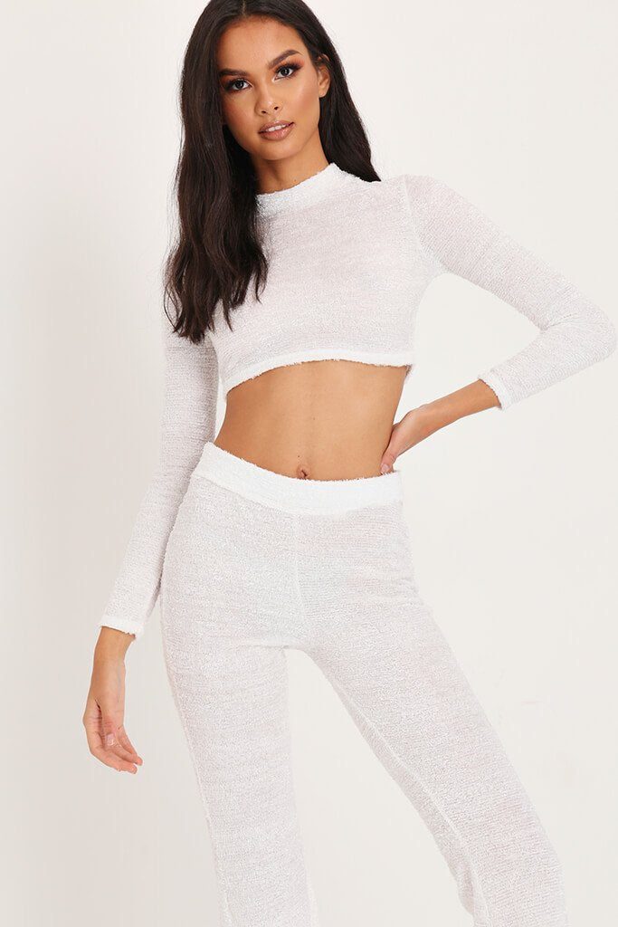 White Brushed Crop Top & Trousers Loungewear Set view 2