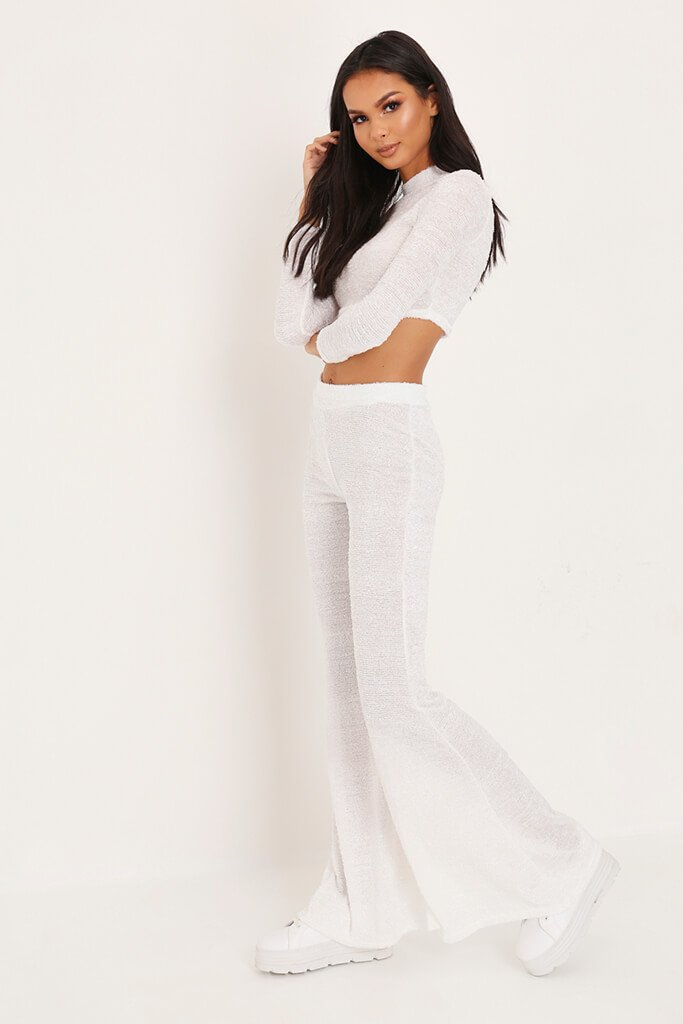 White Brushed Crop Top & Trousers Loungewear Set view 3