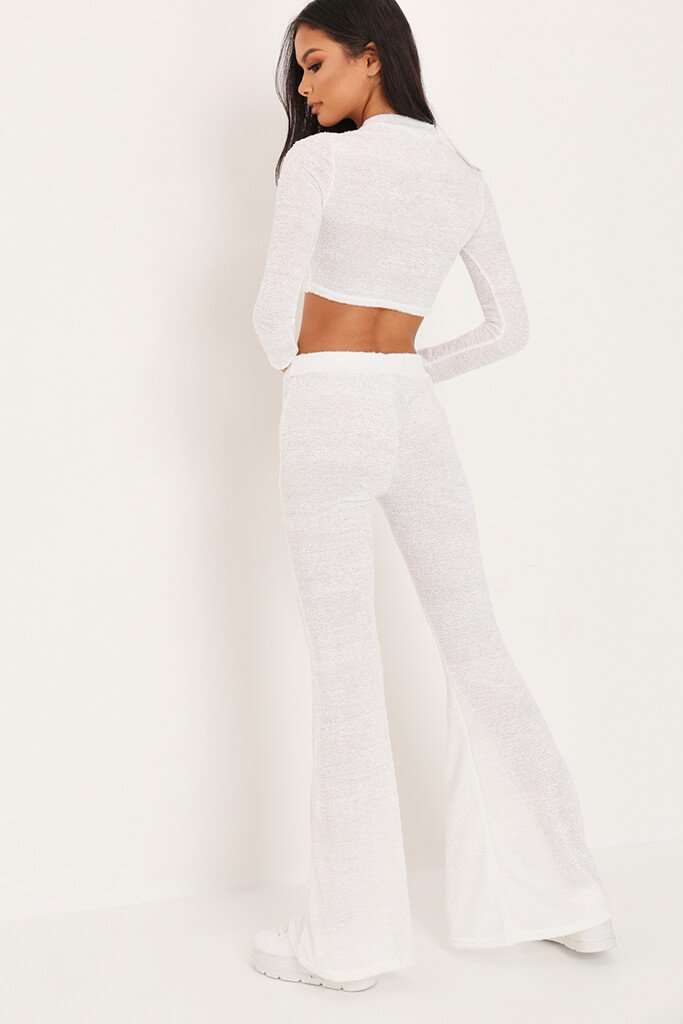 White Brushed Crop Top & Trousers Loungewear Set view 5