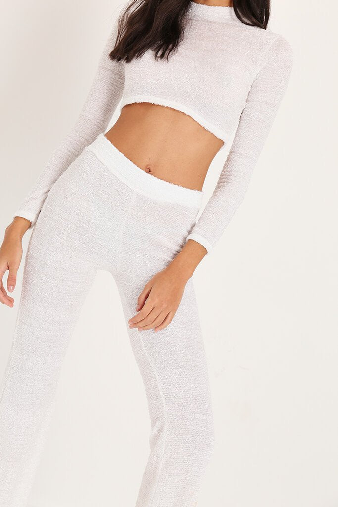White Brushed Crop Top & Trousers Loungewear Set view 4