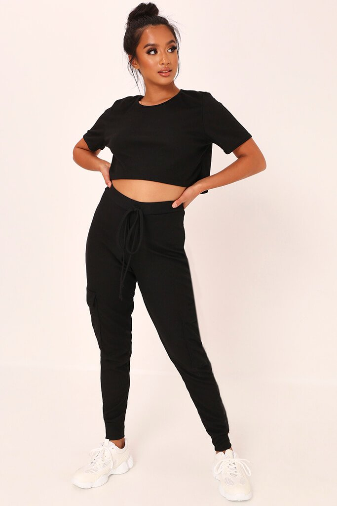 Black Ribbed Boxy Cropped T-Shirt view 2
