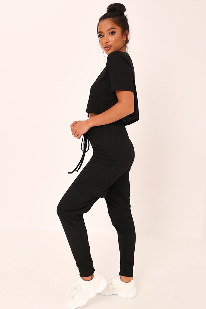 Black Ribbed Boxy Cropped T-Shirt view 3