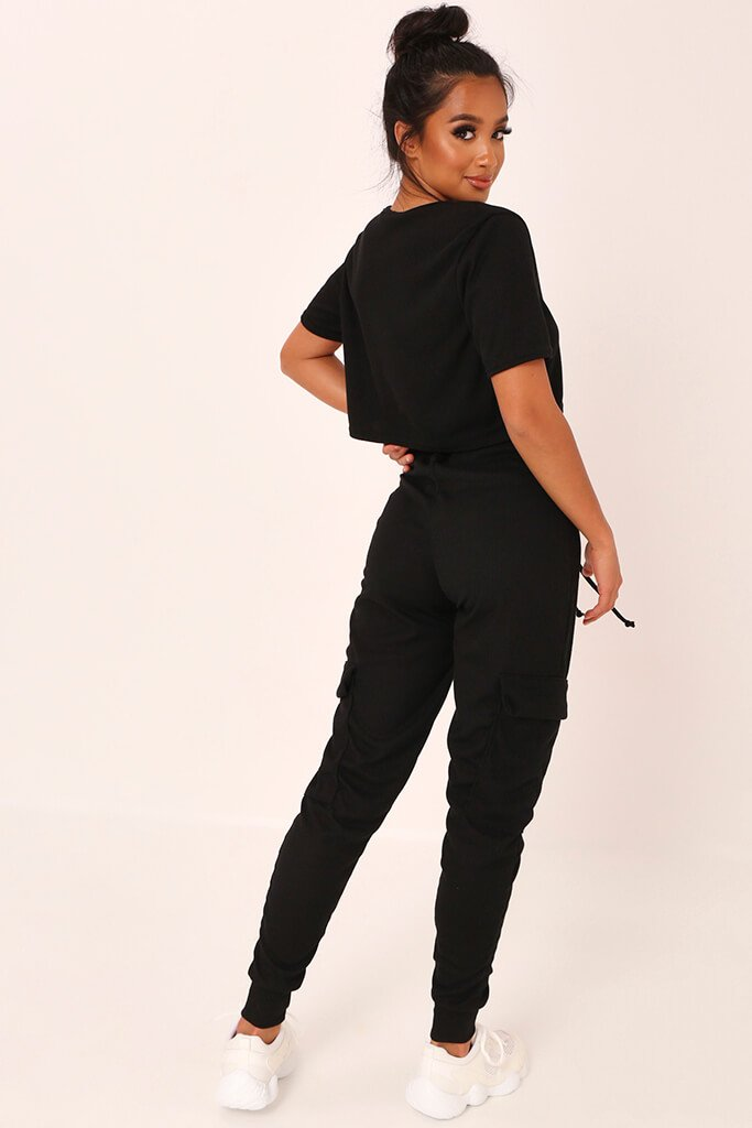 Black Ribbed Boxy Cropped T-Shirt view 5