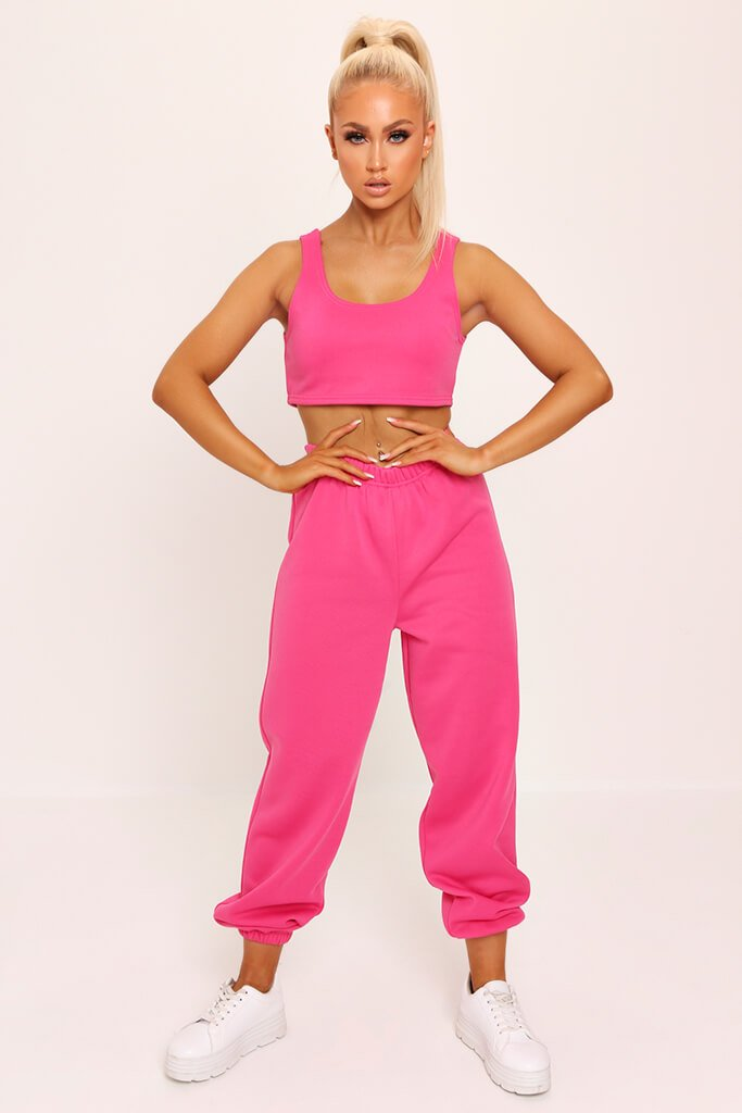 Fuchsia Fleece Back Crop Top view 2