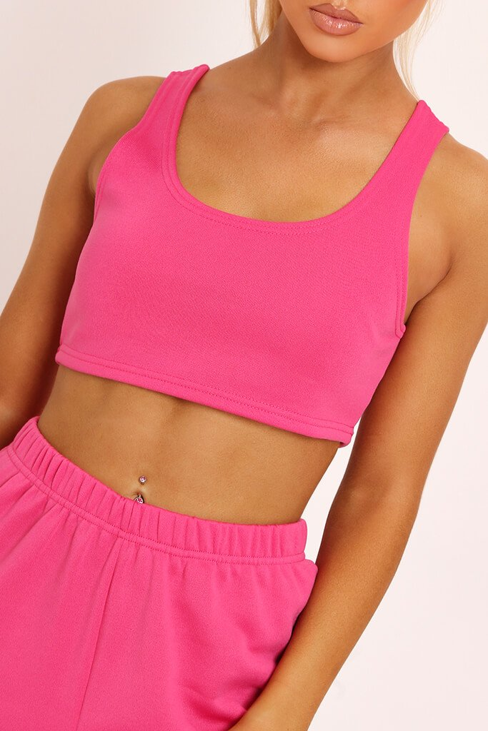 Fuchsia Fleece Back Crop Top view 4