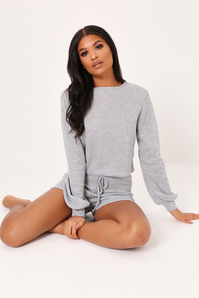 Grey Long Sleeve Top And Shorts Loungewear Set