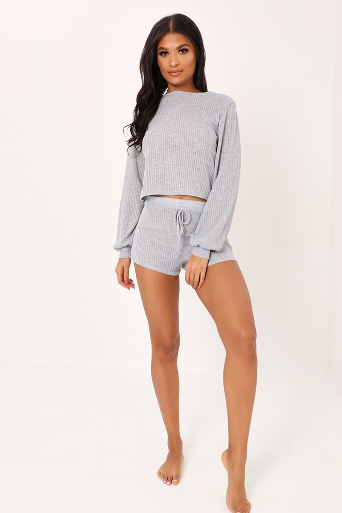 Grey Long Sleeve Top And Shorts Loungewear Set view 2