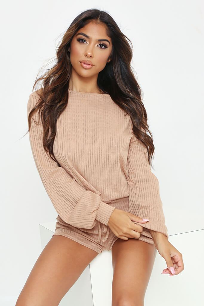 Stone Long Sleeve Top And Shorts Loungewear Set