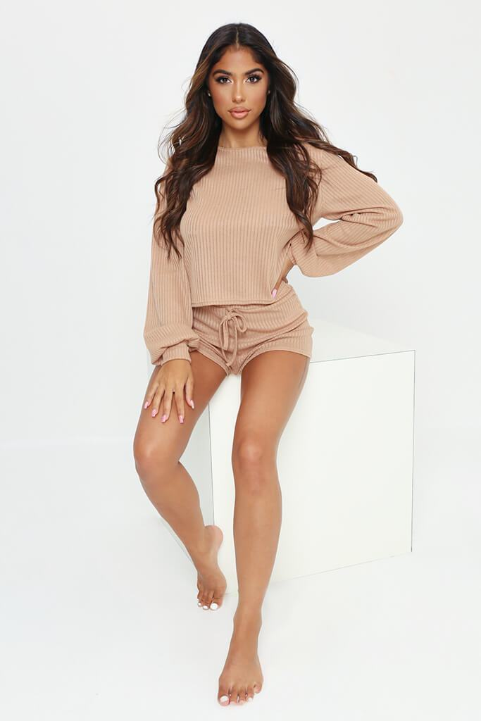 Stone Long Sleeve Top And Shorts Loungewear Set view 2