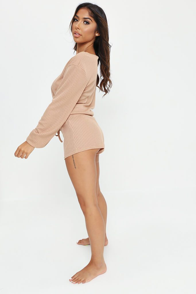 Stone Long Sleeve Top And Shorts Loungewear Set view 3