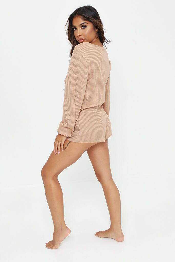 Stone Long Sleeve Top And Shorts Loungewear Set view 5