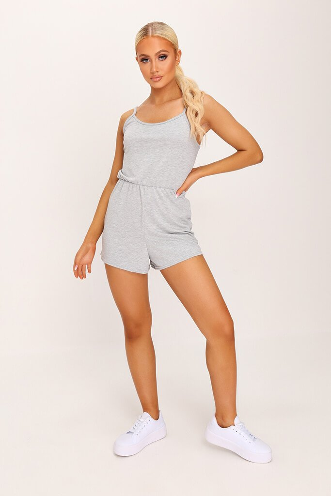 Grey Basic Jersey Playsuit view 2