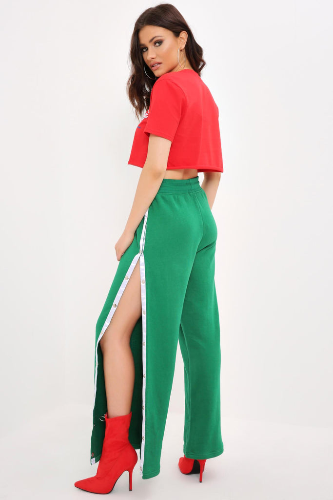Green Wide Leg Joggers With Contrast Poppers