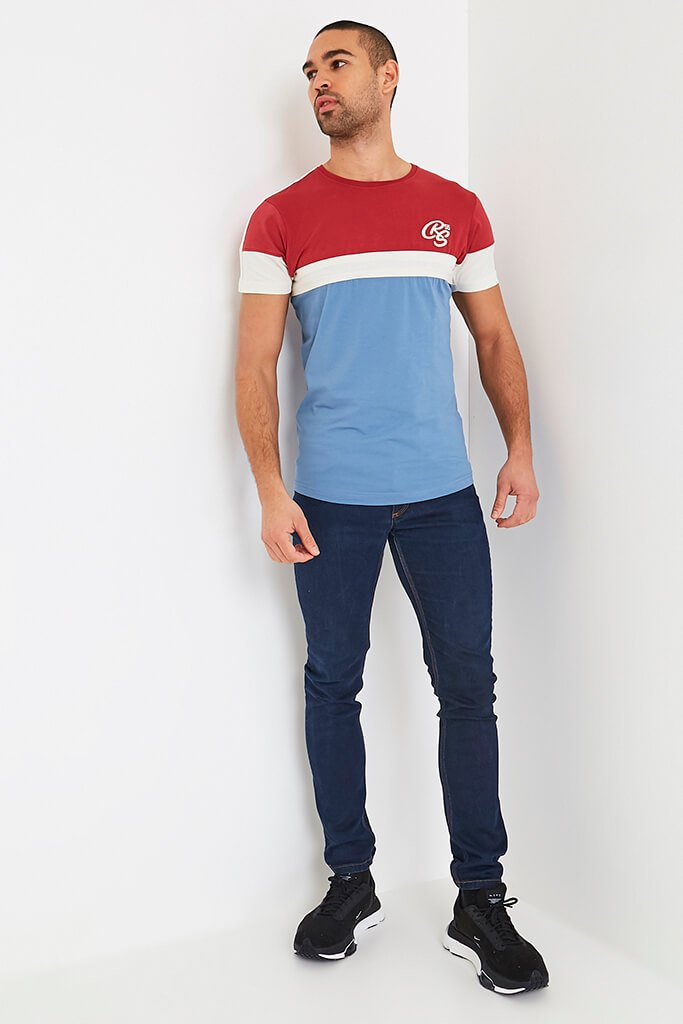 Mid Red Mens Klaptons Crs Colour Block Tee view 2