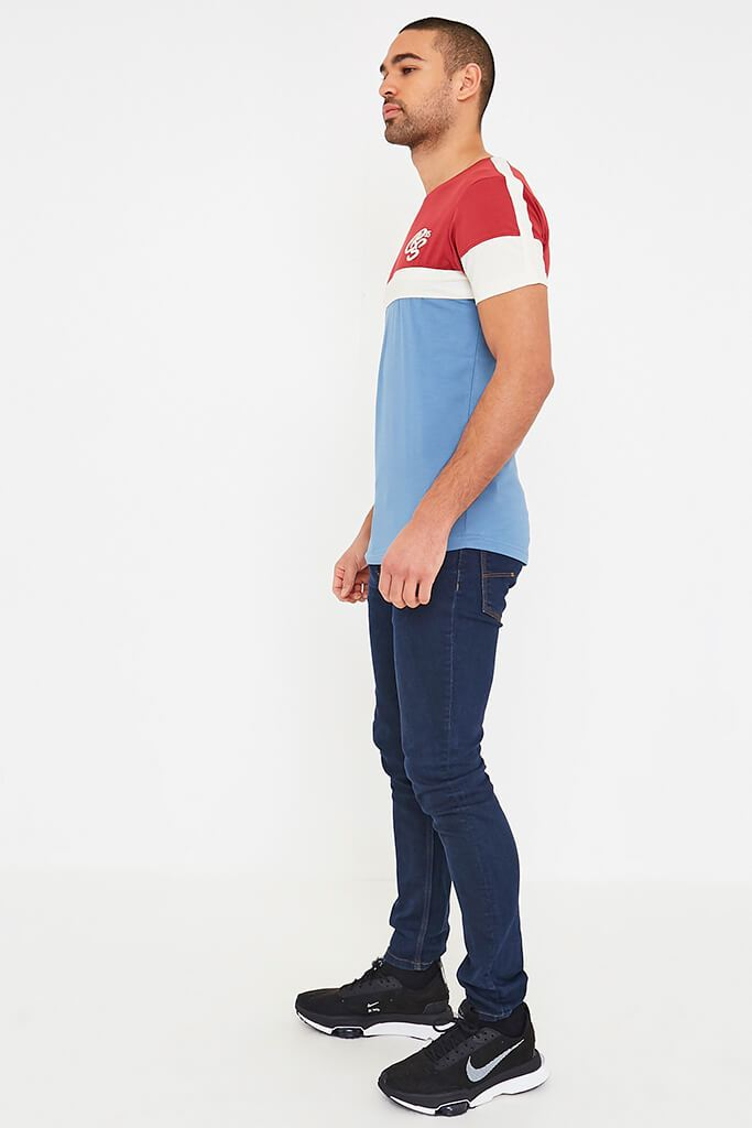 Mid Red Mens Klaptons Crs Colour Block Tee view 3