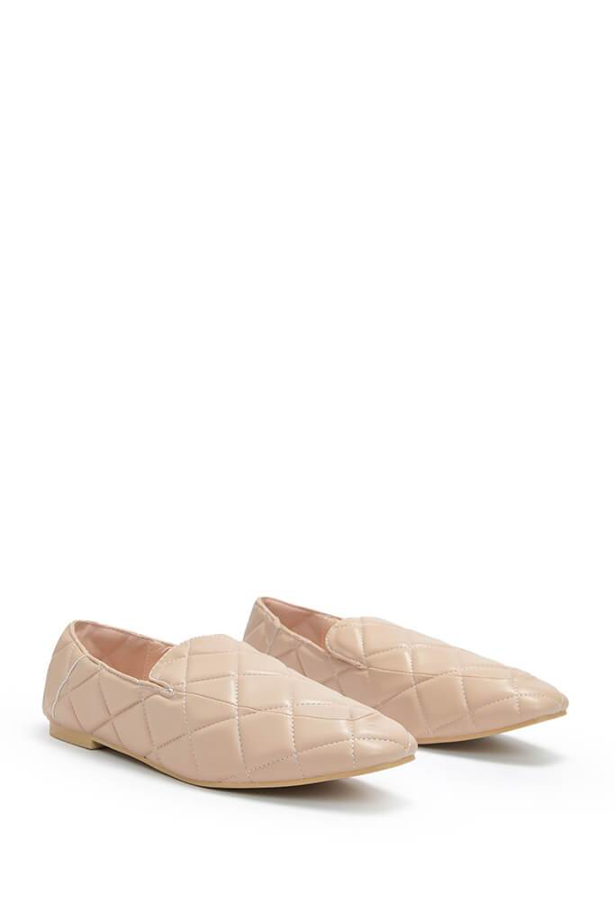 Stone Faux Leather Quilted Loafers view 4
