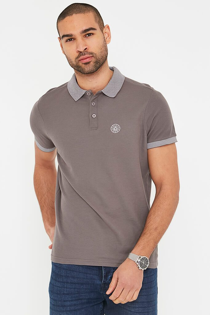 Grey Men's Smith & Jones Daltone Rib Collar Polo Shirt