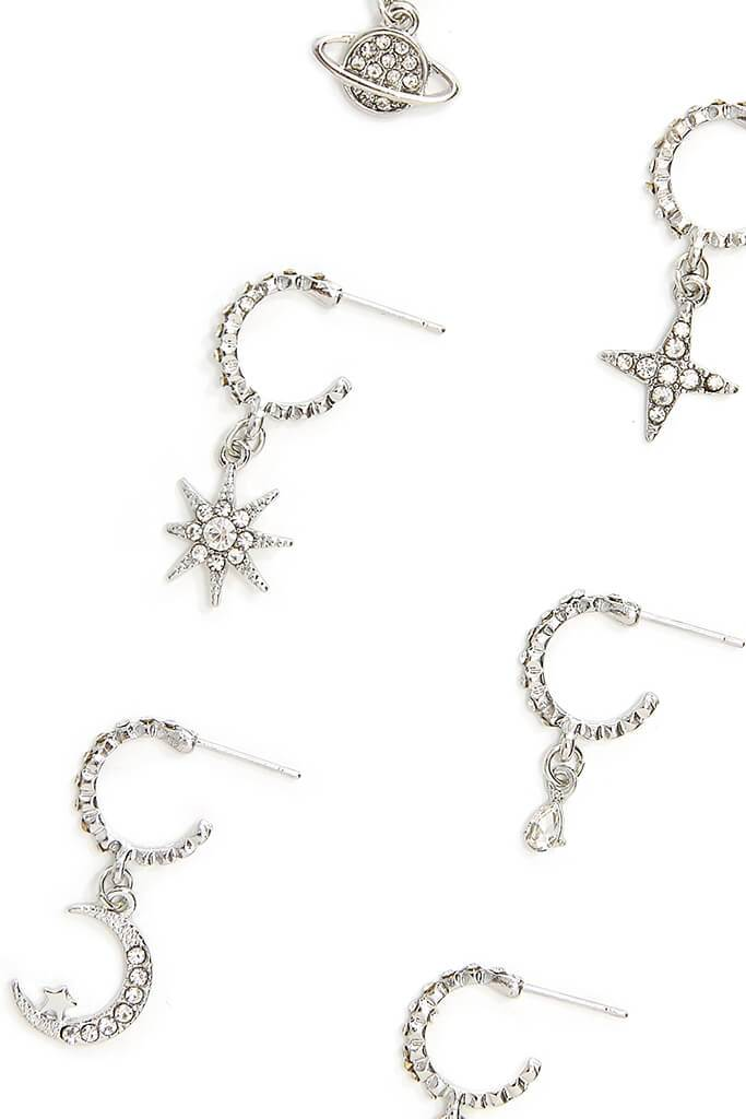 Silver Celestial Diamante Earring Pack view 2