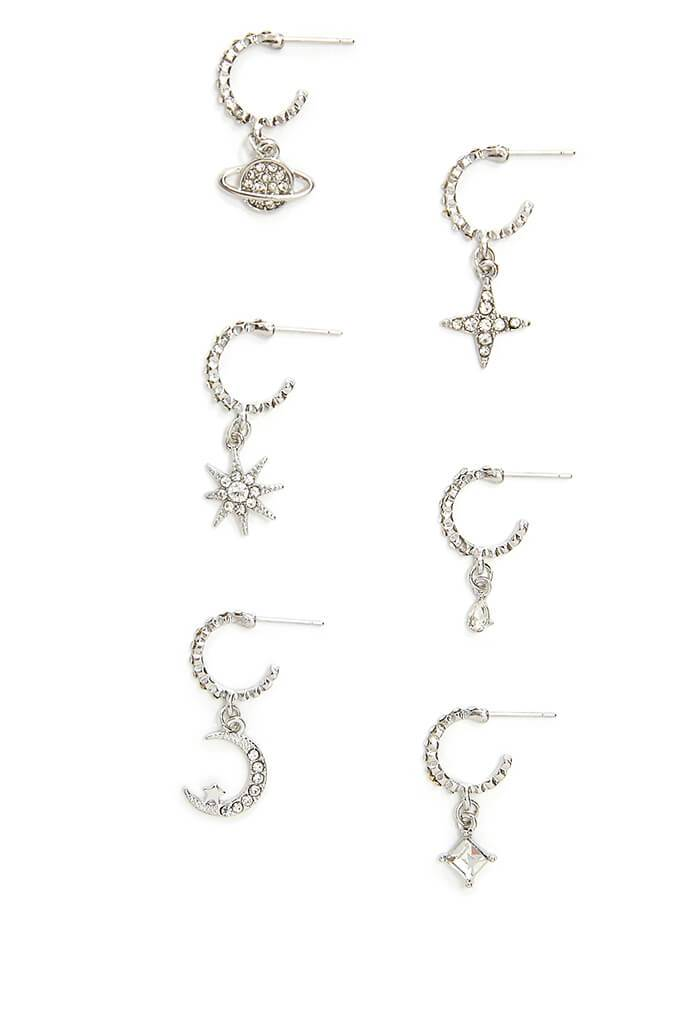 Silver Celestial Diamante Earring Pack