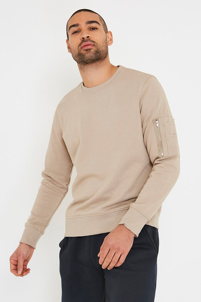Stone Men's Zip Patch Pocket Crew Neck Sweatshirt