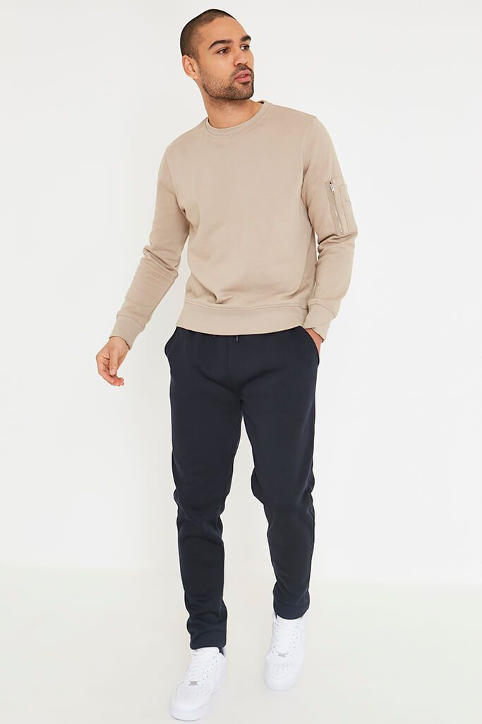 Stone Men's Zip Patch Pocket Crew Neck Sweatshirt view 2