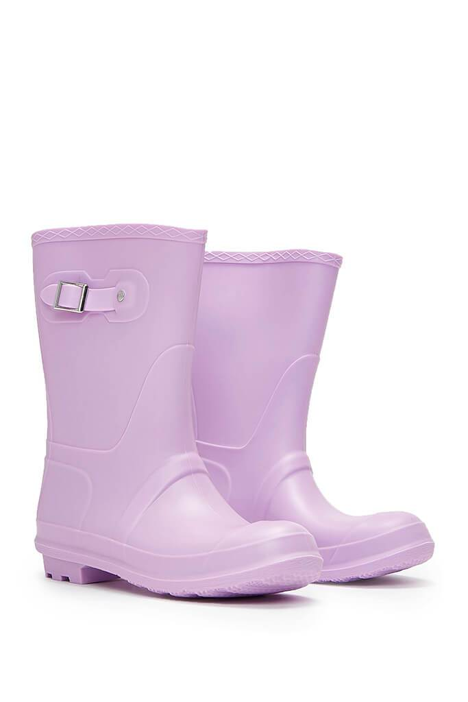 Lilac Buckle Detail Short Wellies view 4