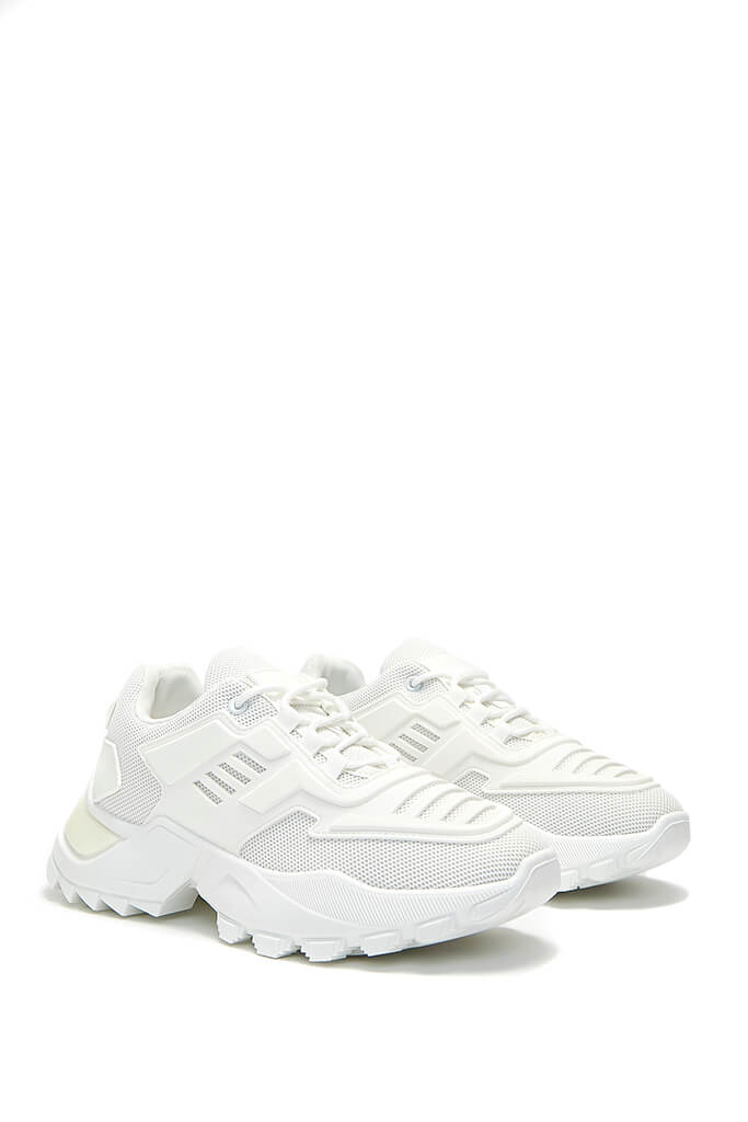 White Chunky Tonal Trainers view 4