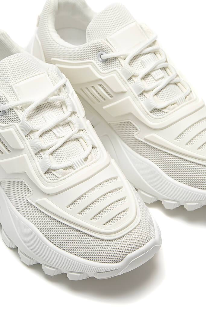 White Chunky Tonal Trainers view 5