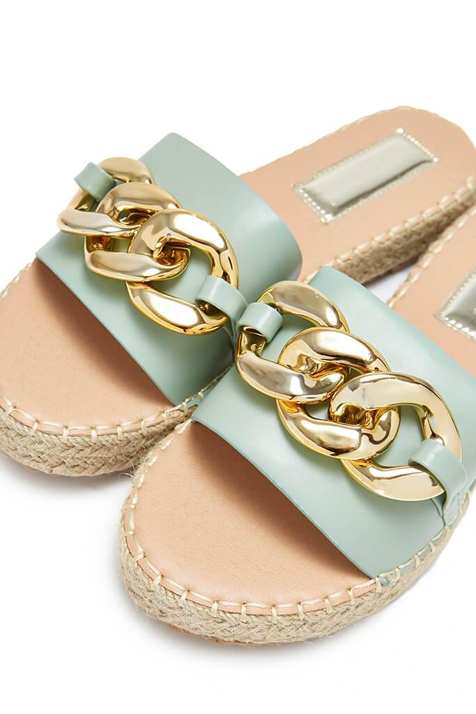Sage Chain Espadrille Flatform Sandals view 5