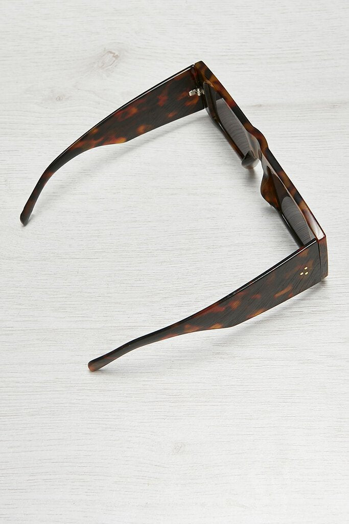Brown Tortoise Shell Square Edge Sunglasses view 2