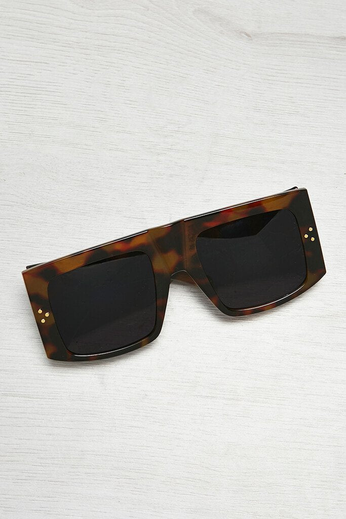 Brown Tortoise Shell Square Edge Sunglasses view main view