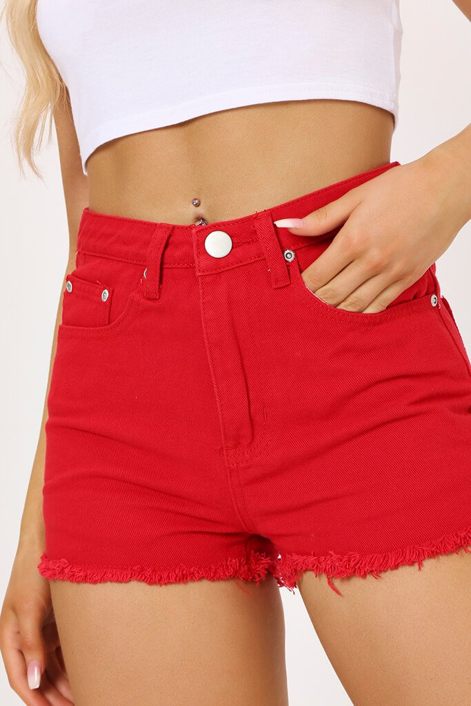 Red High Waisted Denim Shorts view 4