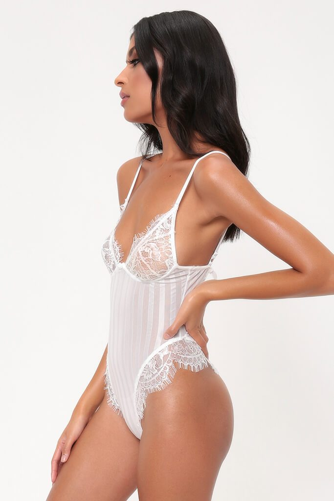 White Striped Lace Bodysuit view 3