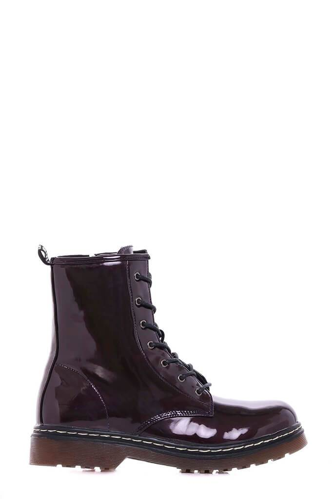 Burgundy Chunky Military Lace Up Boots view 4