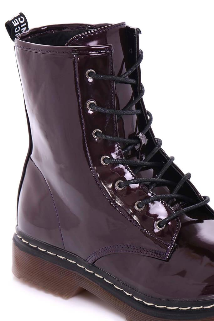 Burgundy Chunky Military Lace Up Boots view 5
