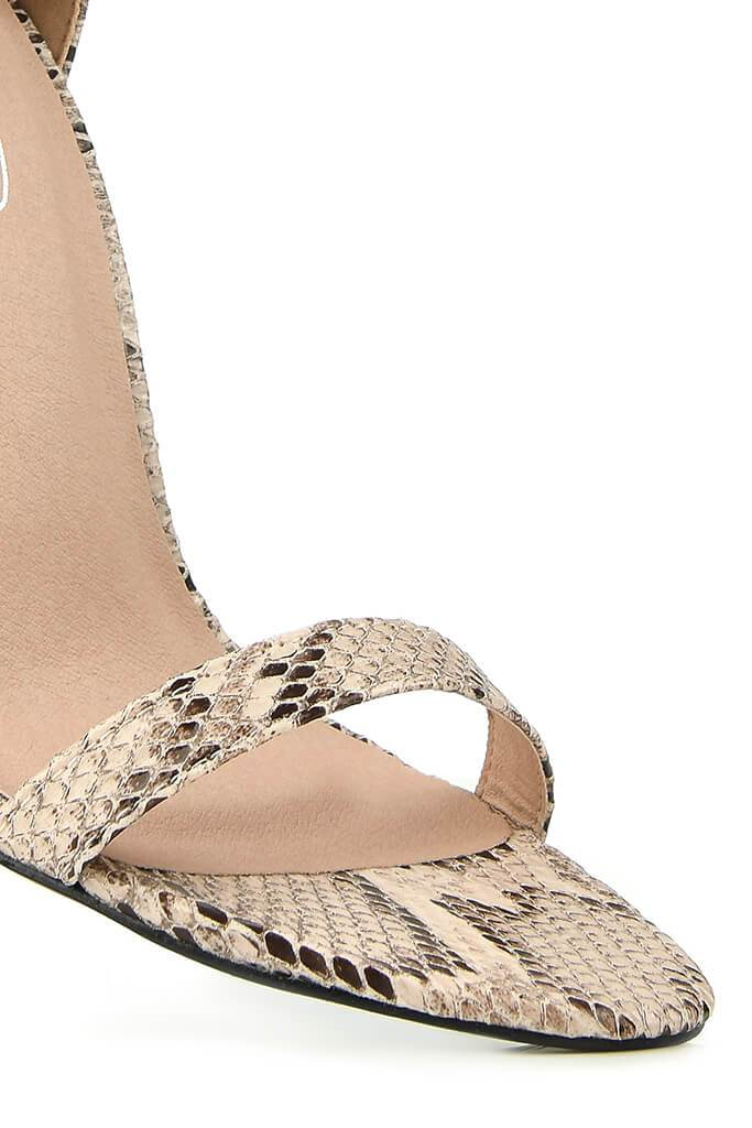 Nude Snake Print Heeled Sandals view 3