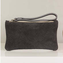 Grey suede clutch bag for your wedding makeup