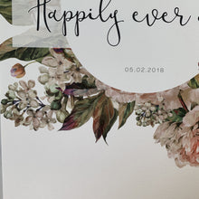 Floral Detail of print for customisable wedding gift and paper anniversary