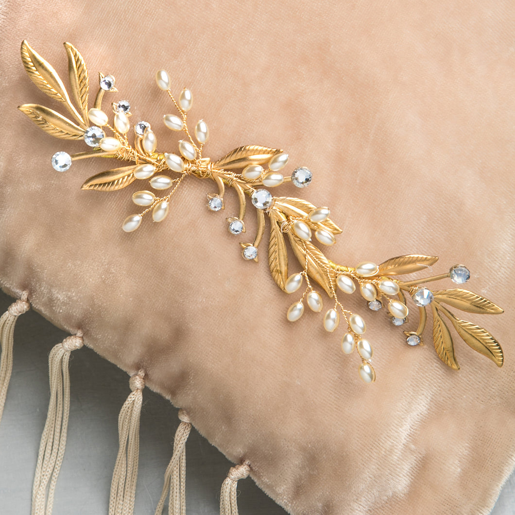 Gold Leaf Bridal Hair Accessory