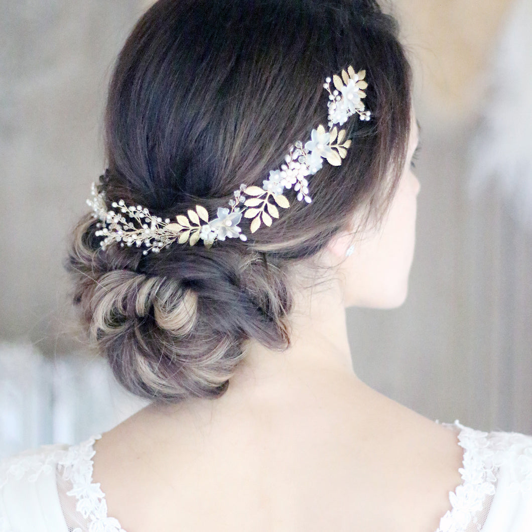 Bridal Hair Vine featuring Gold leaves, Pearls and crystals