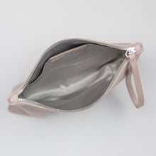 Blush pink clutch handbag with grey lining for your wedding day