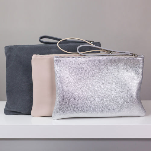 Bridal clutch bag in silver, blush pink or grey