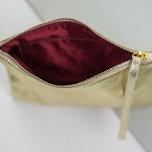 Gold Clutch Bag with Ruby red lining