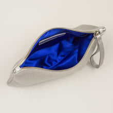 Silver Wedding Day Clutch with Blue satin lining