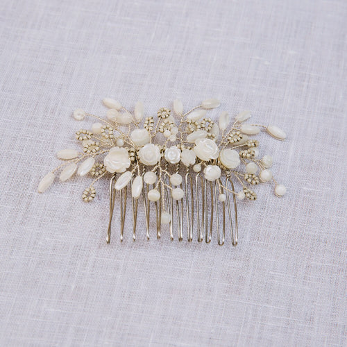 Bridal Hair Comb featuring pearls and crystals in a floral design