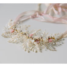 Bridal Gardenia Necklace featuring pearls and crystals in a floral design