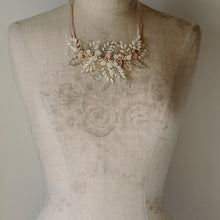 Bridal Necklace featuring pearls and crystals in a floral design