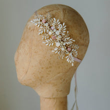 Bridal Hair or Neck piece featuring pearls and crystals in a floral design
